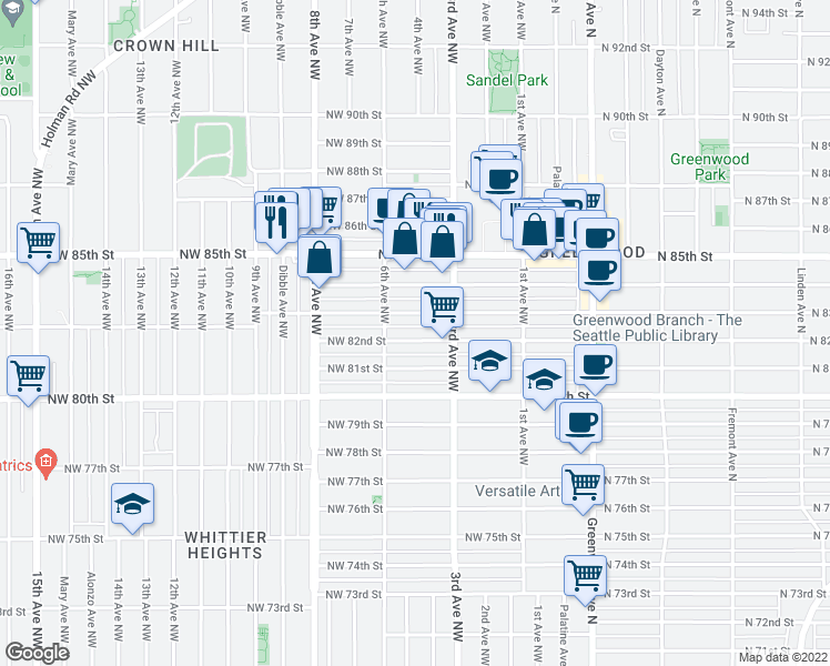 map of restaurants, bars, coffee shops, grocery stores, and more near 342 Northwest 81st Street in Seattle