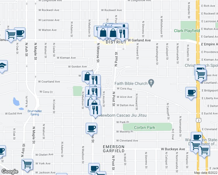 map of restaurants, bars, coffee shops, grocery stores, and more near 840 W Cora Ave in Spokane