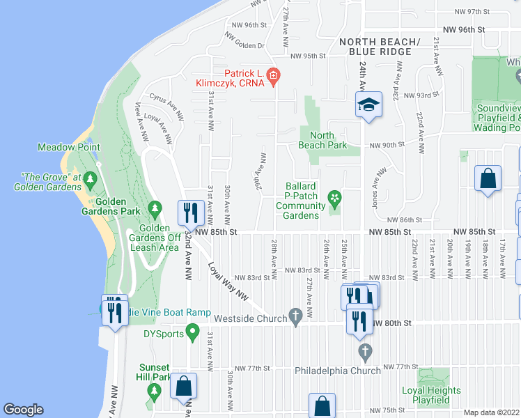 map of restaurants, bars, coffee shops, grocery stores, and more near 29th Ave NW in Seattle
