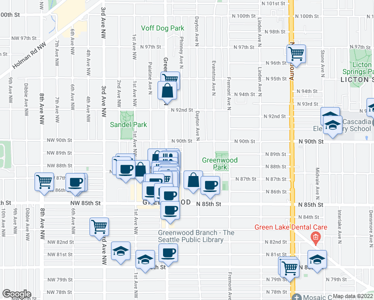 map of restaurants, bars, coffee shops, grocery stores, and more near 8746 Phinney Avenue North in Seattle