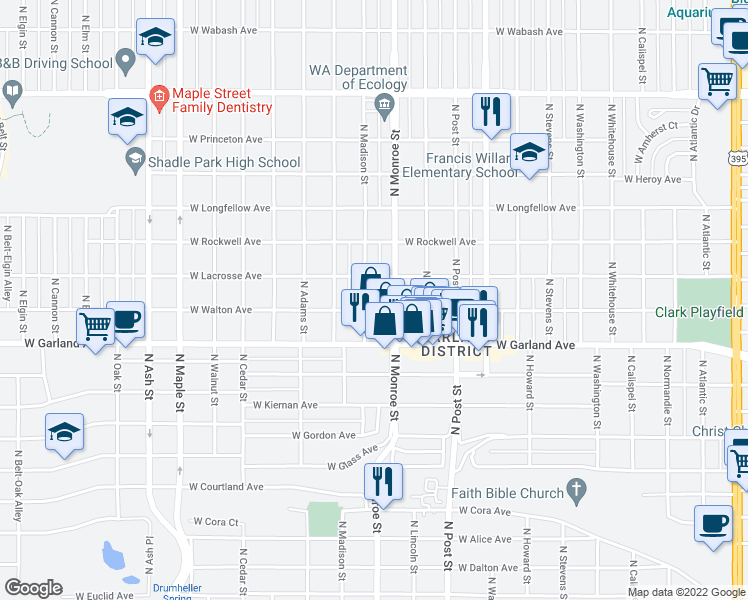 map of restaurants, bars, coffee shops, grocery stores, and more near 4006 North Madison Street in Spokane