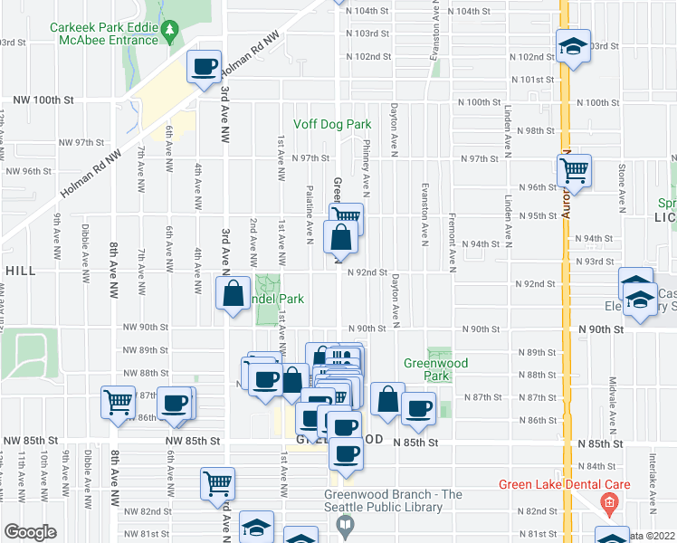 map of restaurants, bars, coffee shops, grocery stores, and more near Greenwood Avenue North & North 92nd Street in Seattle