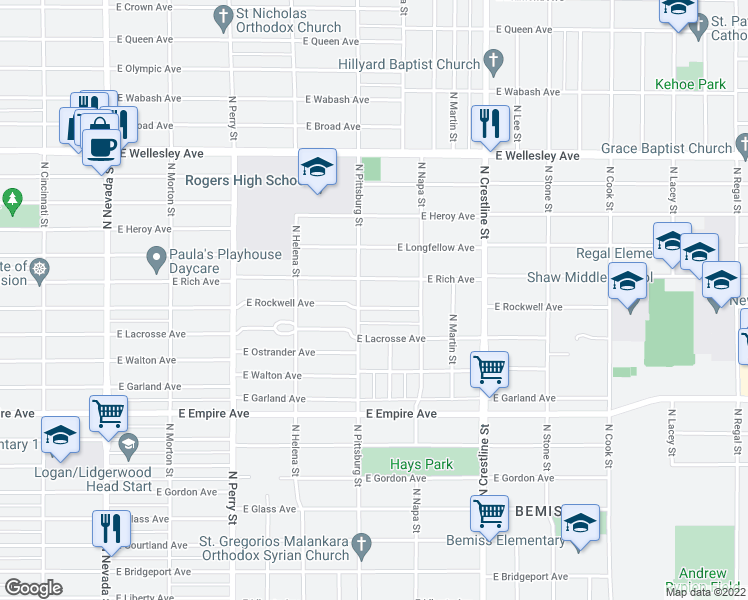 map of restaurants, bars, coffee shops, grocery stores, and more near 1701-1707 East Rich Avenue in Spokane