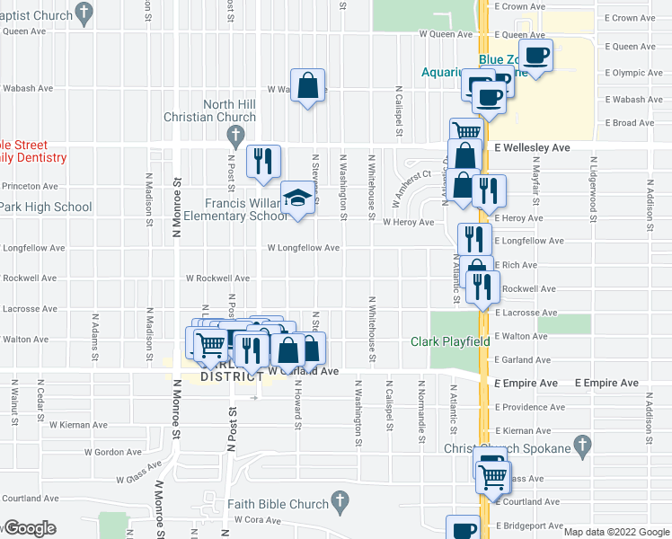 map of restaurants, bars, coffee shops, grocery stores, and more near 4217 N Washington St in Spokane