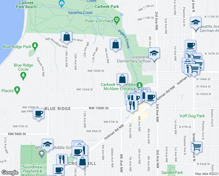 map of restaurants, bars, coffee shops, grocery stores, and more near 10301 Dibble Ave NW in Seattle