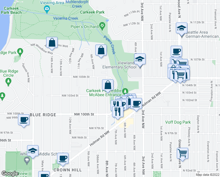 map of restaurants, bars, coffee shops, grocery stores, and more near 10404 Alderbrook Place Northwest in Seattle