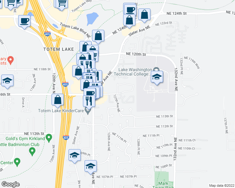 map of restaurants, bars, coffee shops, grocery stores, and more near NE 116th St & 127th Ln NE in Kirkland