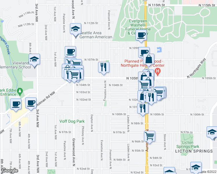 map of restaurants, bars, coffee shops, grocery stores, and more near 10311 Fremont Avenue North in Seattle