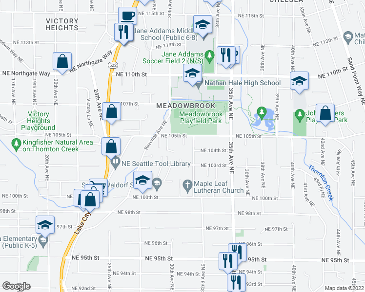 map of restaurants, bars, coffee shops, grocery stores, and more near 3029 NE 105th St in Seattle