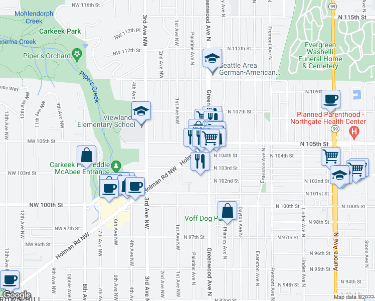 map of restaurants, bars, coffee shops, grocery stores, and more near 100 NW 104th St in Seattle