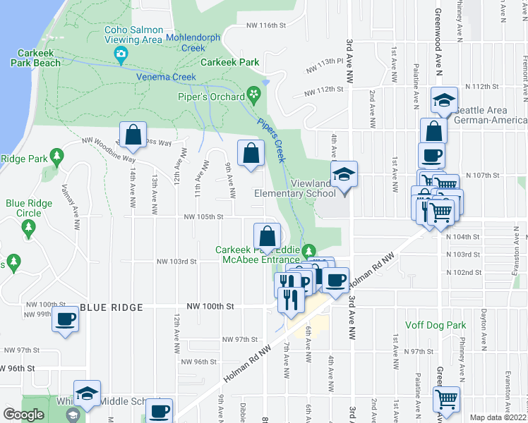 map of restaurants, bars, coffee shops, grocery stores, and more near 10511 8th Ave NW in Seattle