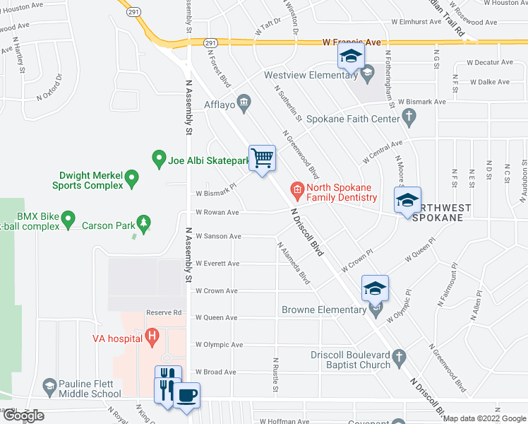map of restaurants, bars, coffee shops, grocery stores, and more near 4018 West Rowan Avenue in Spokane