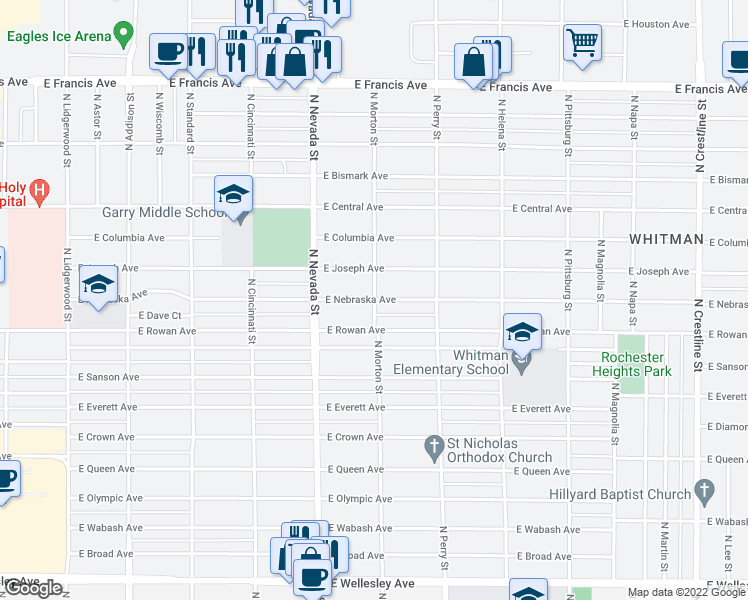 map of restaurants, bars, coffee shops, grocery stores, and more near N Morton St & E Nebraska Ave in Spokane