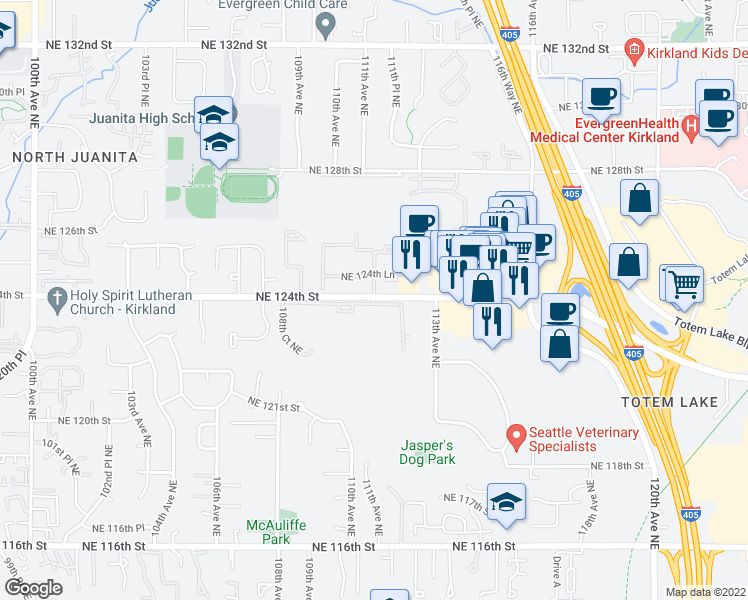 map of restaurants, bars, coffee shops, grocery stores, and more near 11139-11199 Northeast 123rd Lane in Kirkland