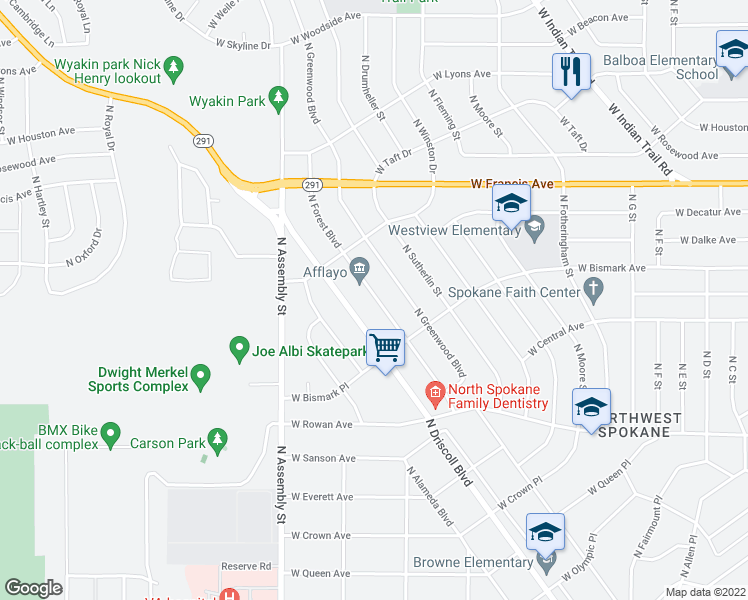 map of restaurants, bars, coffee shops, grocery stores, and more near 5804 North Forest Boulevard in Spokane