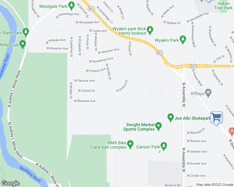 map of restaurants, bars, coffee shops, grocery stores, and more near 5923 North Oxford Drive in Spokane