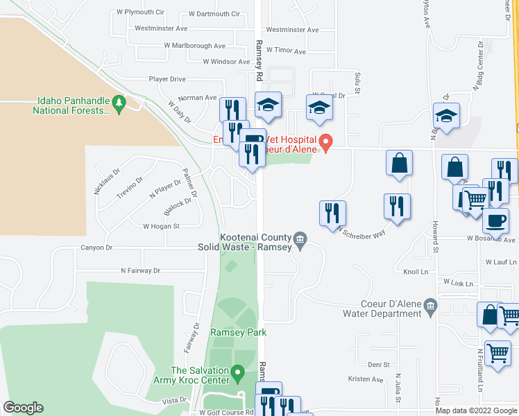 map of restaurants, bars, coffee shops, grocery stores, and more near 3940-3976 North Ramsey Road in Coeur d'Alene