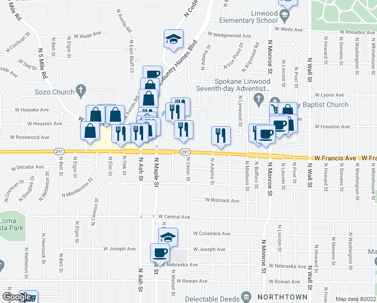 map of restaurants, bars, coffee shops, grocery stores, and more near W Francis Ave & N Cedar Rd in Spokane