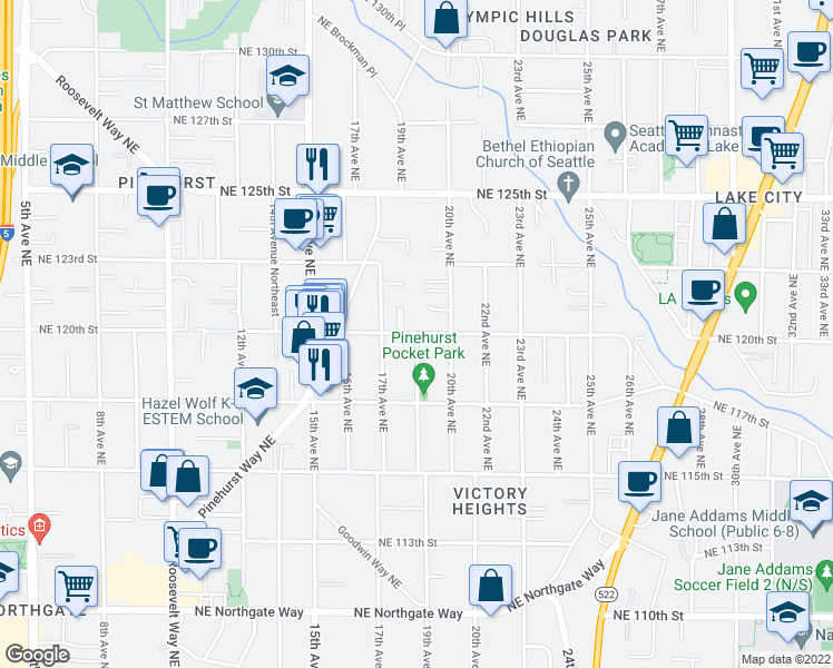 map of restaurants, bars, coffee shops, grocery stores, and more near 19th Ave NE & NE 120th St in Seattle
