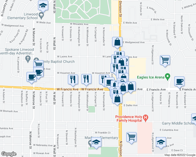map of restaurants, bars, coffee shops, grocery stores, and more near 6417 North Calispel Street in Spokane