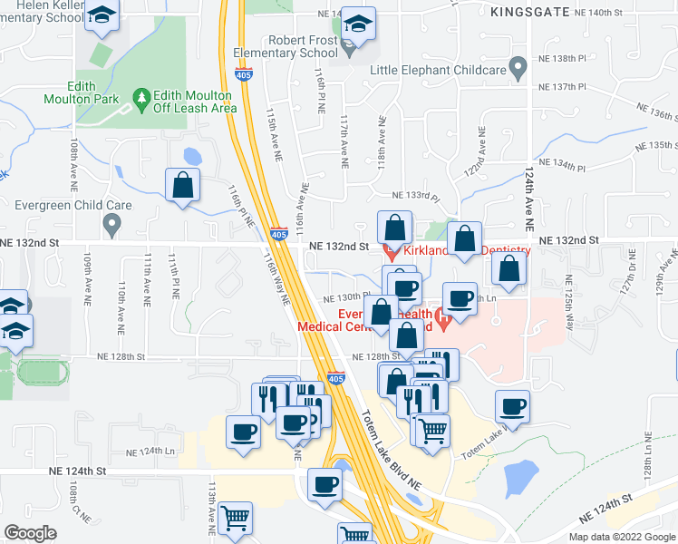 map of restaurants, bars, coffee shops, grocery stores, and more near 11730-11828 Northeast 132nd Street in Kirkland