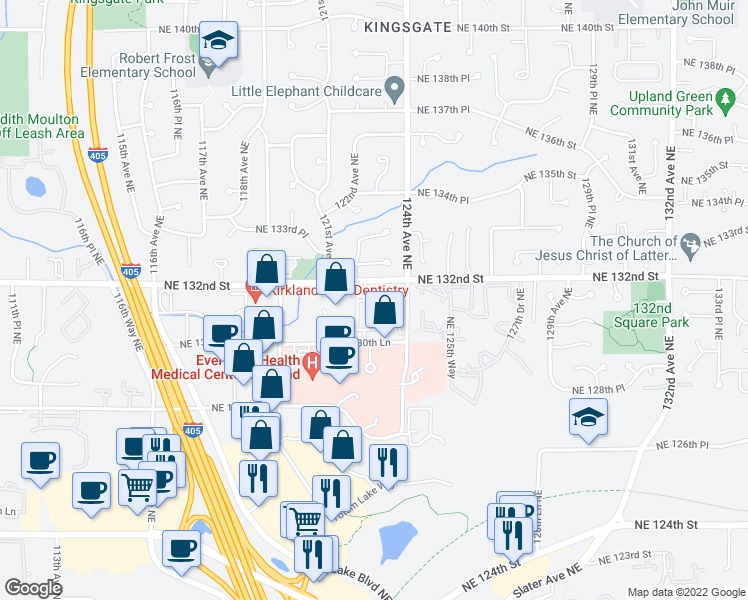 map of restaurants, bars, coffee shops, grocery stores, and more near 12233 NE 131st Way in Kirkland