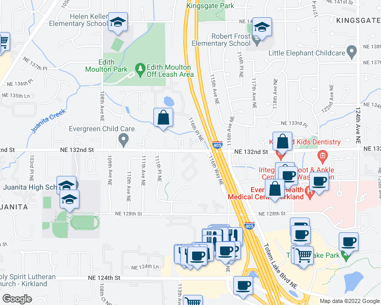 map of restaurants, bars, coffee shops, grocery stores, and more near 11253 Northeast 131st Lane in Kirkland
