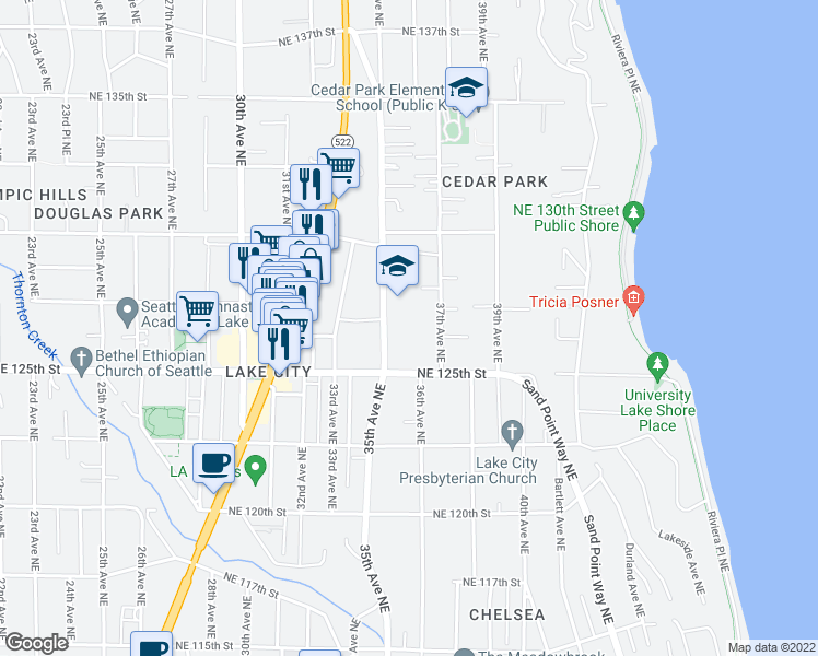 map of restaurants, bars, coffee shops, grocery stores, and more near 12546 35th Avenue Northeast in Seattle