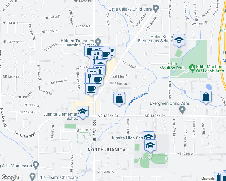 map of restaurants, bars, coffee shops, grocery stores, and more near 10100-10198 NE 134th Ln in Kirkland