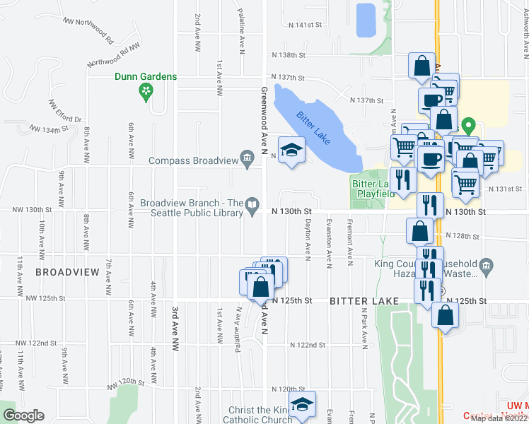 map of restaurants, bars, coffee shops, grocery stores, and more near 12726 Greenwood Avenue North in Seattle