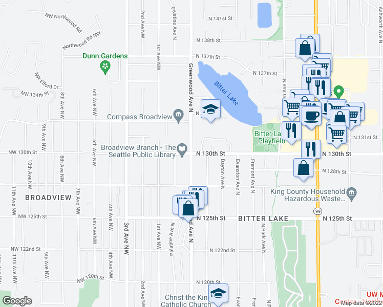 map of restaurants, bars, coffee shops, grocery stores, and more near Greenwood Avenue North & North 130th Street in Seattle