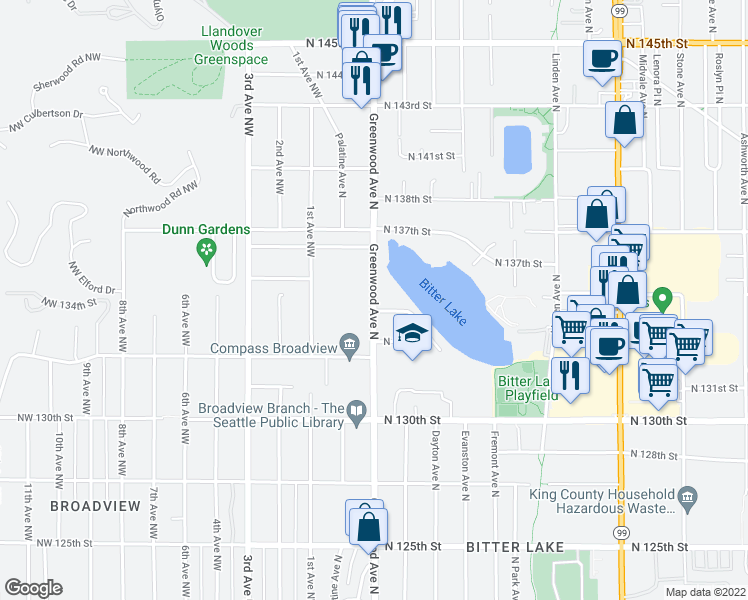 map of restaurants, bars, coffee shops, grocery stores, and more near 13433 Greenwood Avenue North in Seattle