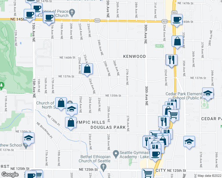 map of restaurants, bars, coffee shops, grocery stores, and more near 25th Ave NE & NE 136th St in Seattle