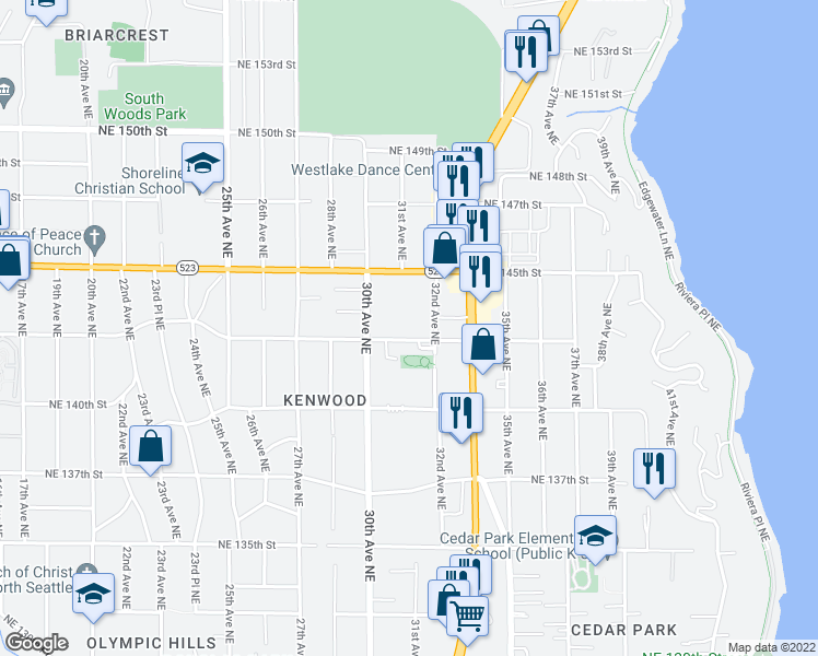 map of restaurants, bars, coffee shops, grocery stores, and more near 14337 32nd Ave NE in Seattle
