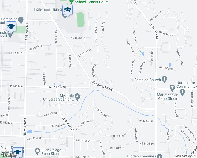 map of restaurants, bars, coffee shops, grocery stores, and more near 14610 93rd Blvd NE in Bothell