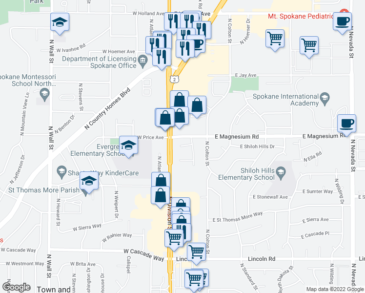 map of restaurants, bars, coffee shops, grocery stores, and more near 20 East Pineri