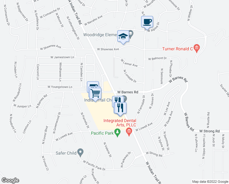 map of restaurants, bars, coffee shops, grocery stores, and more near N Indian Trail Rd & W Barnes Rd in Spokane