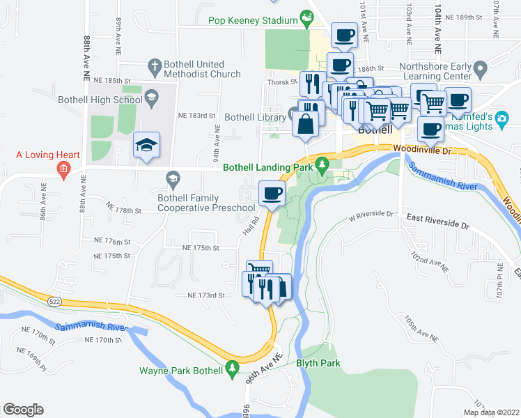 map of restaurants, bars, coffee shops, grocery stores, and more near 17725 Hall Rd in Bothell