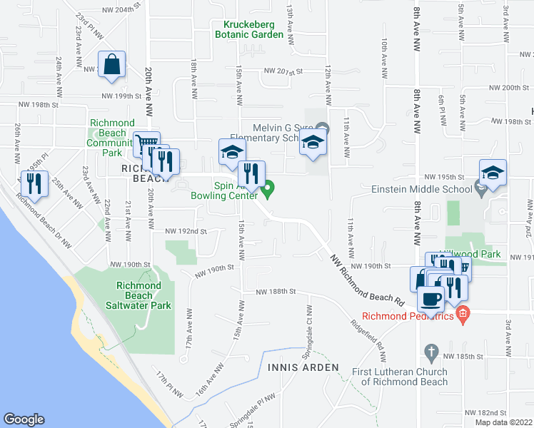map of restaurants, bars, coffee shops, grocery stores, and more near 1431 Northwest Richmond Beach Road in Shoreline