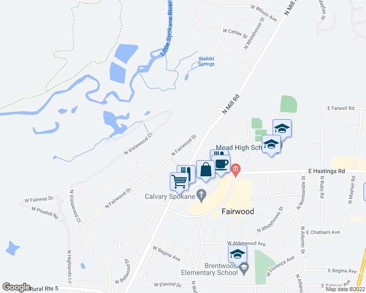 map of restaurants, bars, coffee shops, grocery stores, and more near 12301-12399 North Fairwood Drive in Spokane