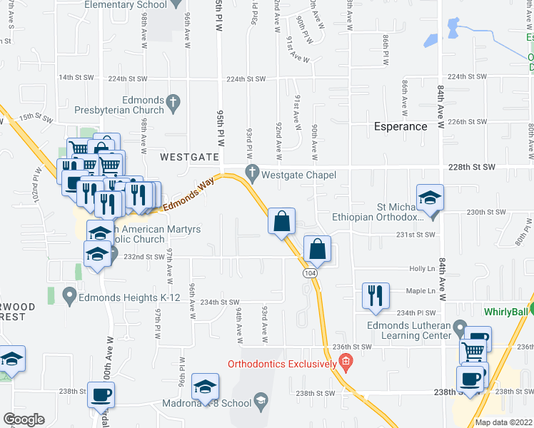 map of restaurants, bars, coffee shops, grocery stores, and more near 23012 Edmonds Way in Edmonds