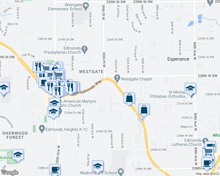 map of restaurants, bars, coffee shops, grocery stores, and more near 22816 Edmonds Way in Edmonds