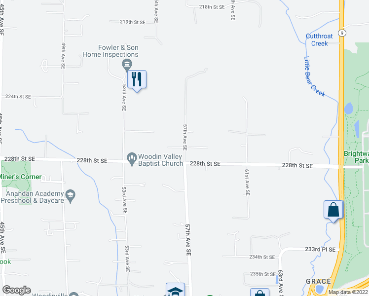 map of restaurants, bars, coffee shops, grocery stores, and more near 5623-5699 227th St SE in Bothell