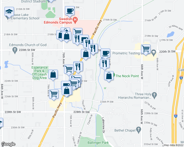 map of restaurants, bars, coffee shops, grocery stores, and more near 7307 224th Street Southwest in Edmonds