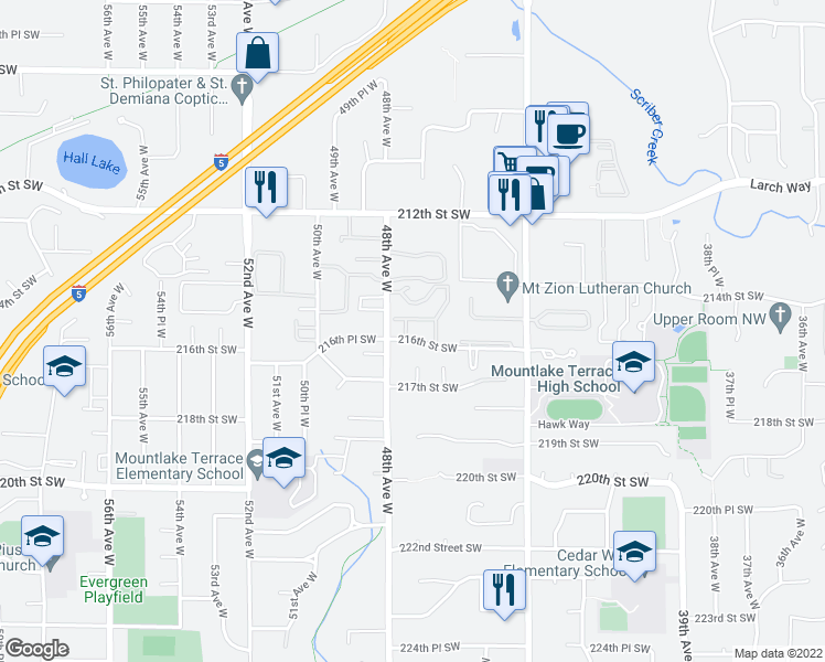 map of restaurants, bars, coffee shops, grocery stores, and more near 4713 216th Street Southwest in Mountlake Terrace