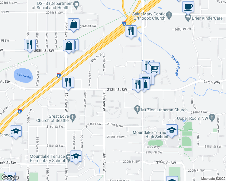 map of restaurants, bars, coffee shops, grocery stores, and more near 4629 212th Street Southwest in Lynnwood