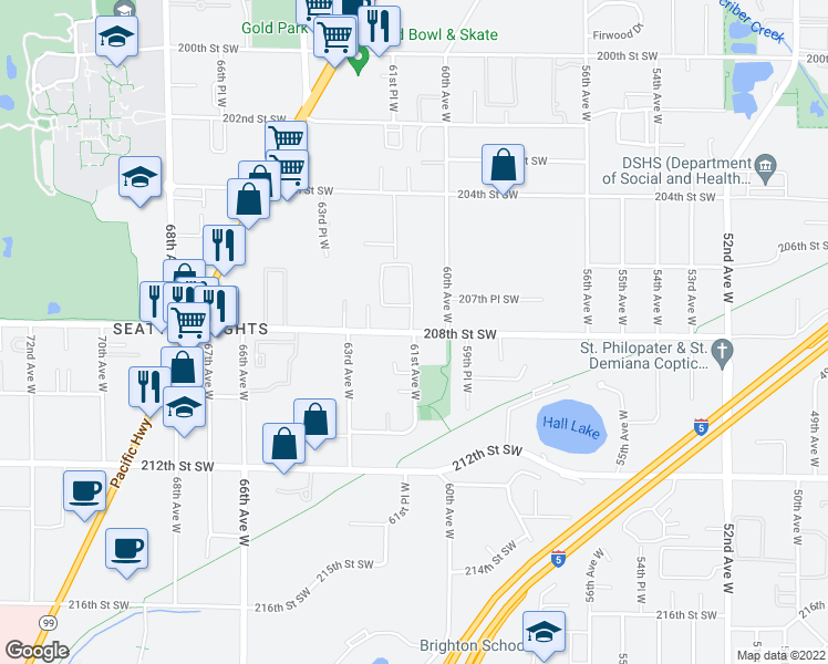 map of restaurants, bars, coffee shops, grocery stores, and more near 6119 208th Street Southwest in Lynnwood