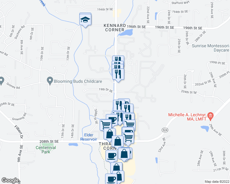 map of restaurants, bars, coffee shops, grocery stores, and more near 20201-20221 19th Drive Southeast in Bothell