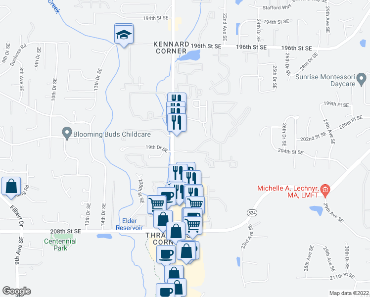 map of restaurants, bars, coffee shops, grocery stores, and more near 20230 19th Dr SE in Bothell
