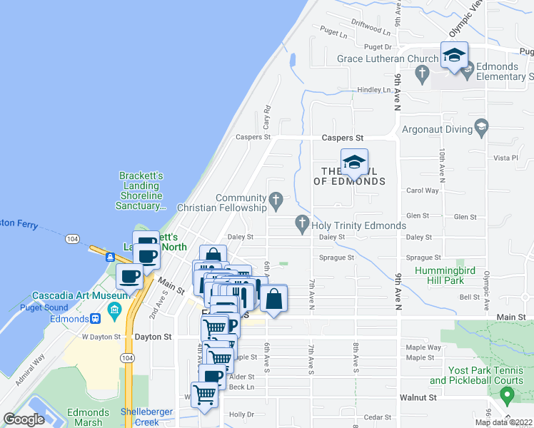 map of restaurants, bars, coffee shops, grocery stores, and more near 600 6th Ave N in Edmonds